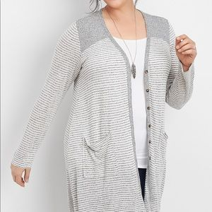MAURICES   1X   Striped Button Up Duster Cardigan